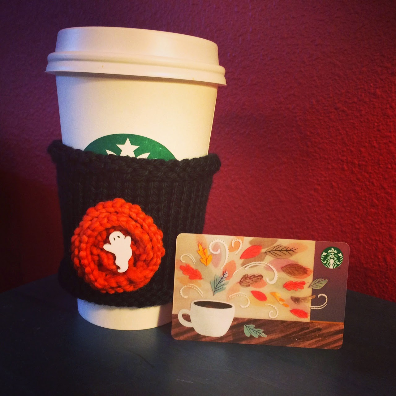 Starbucks Gift Card and Hand Knit Cup Cozy GIVEAWAY!